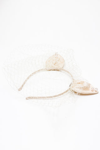 Cream Silk Butterfly Headband with Feather & Voile