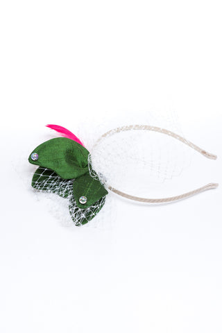 Dark Green Silk Hat Headband with Tulle