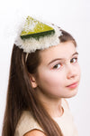 Dark Green Raw Silk Cute Cake Headband With Tulle - LAZY FRANCIS - Shop in store at 406 Kings Road, Chelsea, London or shop online at www.lazyfrancis.com
