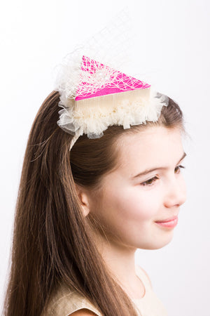 Cream & Fuchsia Raw Silk Cake Headband with Tulle - LAZY FRANCIS - Shop in store at 406 Kings Road, Chelsea, London or shop online at www.lazyfrancis.com