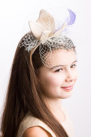 Cream Raw Silk Butterfly Headband with Feather & Voile - LAZY FRANCIS - Shop in store at 406 Kings Road, Chelsea, London or shop online at www.lazyfrancis.com