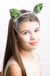 Dark Green Silk Cat Ears Headband with Tulle - LAZY FRANCIS - Shop in store at 406 Kings Road, Chelsea, London or shop online at www.lazyfrancis.com