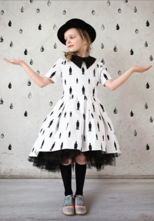 Exclusive White Cotton High-Low Dress with Charlie Chaplin Silhouette - LAZY FRANCIS - Shop in store at 406 Kings Road, Chelsea, London or shop online at www.lazyfrancis.com