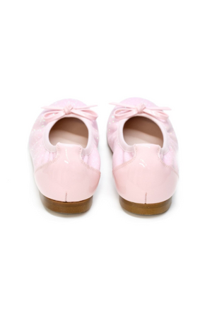 Lazy Francis Rose Pink Glitter Ballerina Leather Pumps Girls Shoes - LAZY FRANCIS - Shop in store at 406 Kings Road, Chelsea, London or shop online at www.lazyfrancis.com