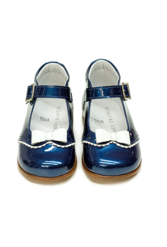 Navy Blue Lacquer Mary-Jane Baby Girl Shoes with White Bow by Lazy Francis special occasion birthday party front sale