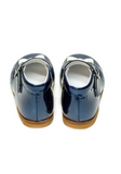 Navy Blue Lacquer Mary-Jane Baby Girl Shoes with White Bow by Lazy Francis special occasion birthday party back sale