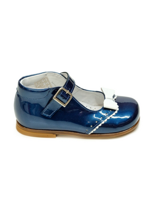 Lazy Francis Navy Blue Lacquer Mary-Jane Baby Girl Shoes with White Bow - LAZY FRANCIS - Shop in store at 406 Kings Road, Chelsea, London or shop online at www.lazyfrancis.com