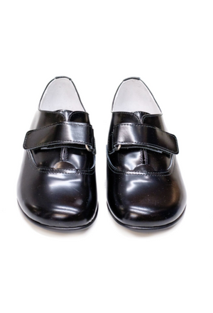 Lazy Francis Black Smart Unisex Leather Shoes with Velcro Fastening - LAZY FRANCIS - Shop in store at 406 Kings Road, Chelsea, London or shop online at www.lazyfrancis.com