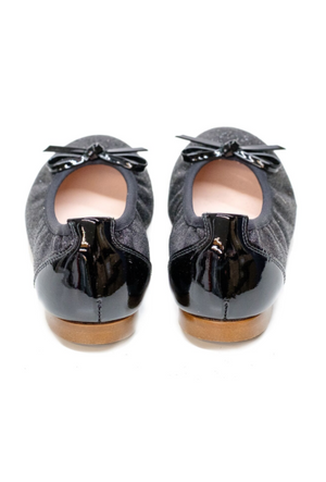 Lazy Francis Black Glitter Ballerina Leather Pumps Girls Shoes - LAZY FRANCIS - Shop in store at 406 Kings Road, Chelsea, London or shop online at www.lazyfrancis.com