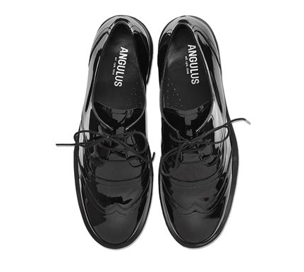 Black Patent Unisex Leather Brogues - Angulus - LAZY FRANCIS - Shop in store at 406 Kings Road, Chelsea, London or shop online at www.lazyfrancis.com
