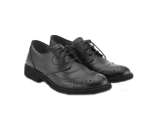 Black Lace Up Unisex Leather Brogue Shoes - Angulus - LAZY FRANCIS - Shop in store at 406 Kings Road, Chelsea, London or shop online at www.lazyfrancis.com