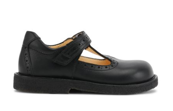 Black T-bar Leather Shoe With Velcro Strap - Angulus - LAZY FRANCIS - Shop in store at 406 Kings Road, Chelsea, London or shop online at www.lazyfrancis.com