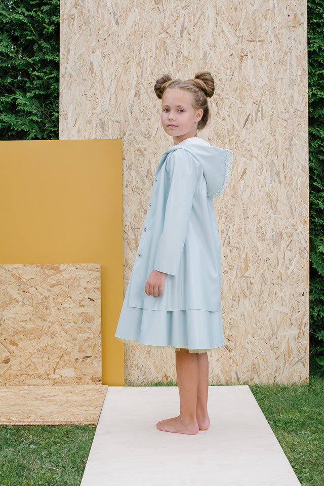 Exclusive Designer Girls Light Blue Eco Leather Coat by Lazy Francis Summer Party, Birthday Side Sale
