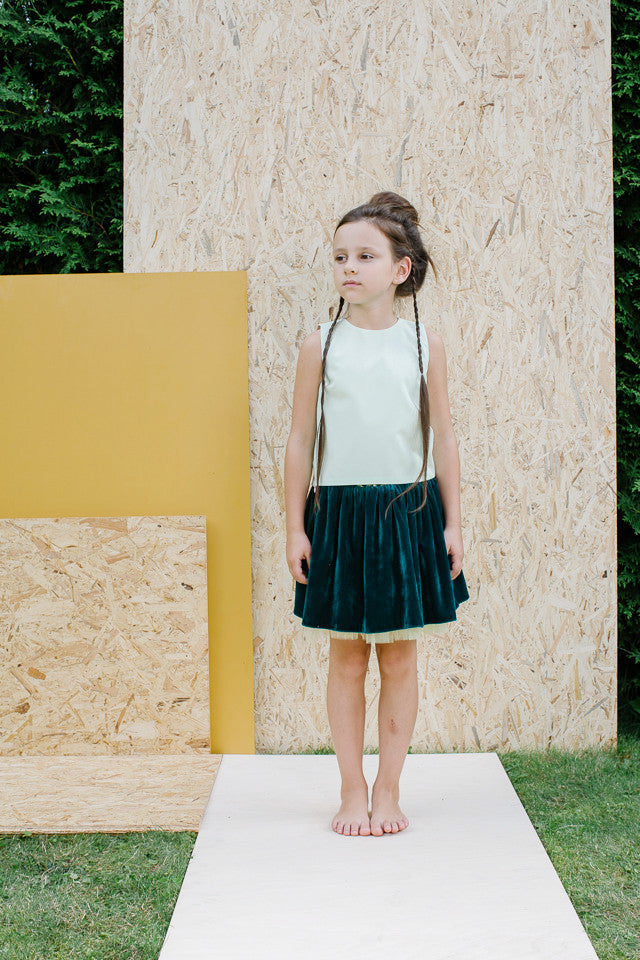 Green Velvet Designer Girls Skirt with Yellow Tulle UNderskirt by Lazy Francis summer occasion special party sale