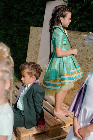 Ivy High-Low Raw Silk Girls Dress In Aquamarine - LAZY FRANCIS - Shop in store at 406 Kings Road, Chelsea, London or shop online at www.lazyfrancis.com