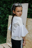 Girls Designer white top with butterfly sleeves by Lazy Francis special occasion exclusive summer party back sale
