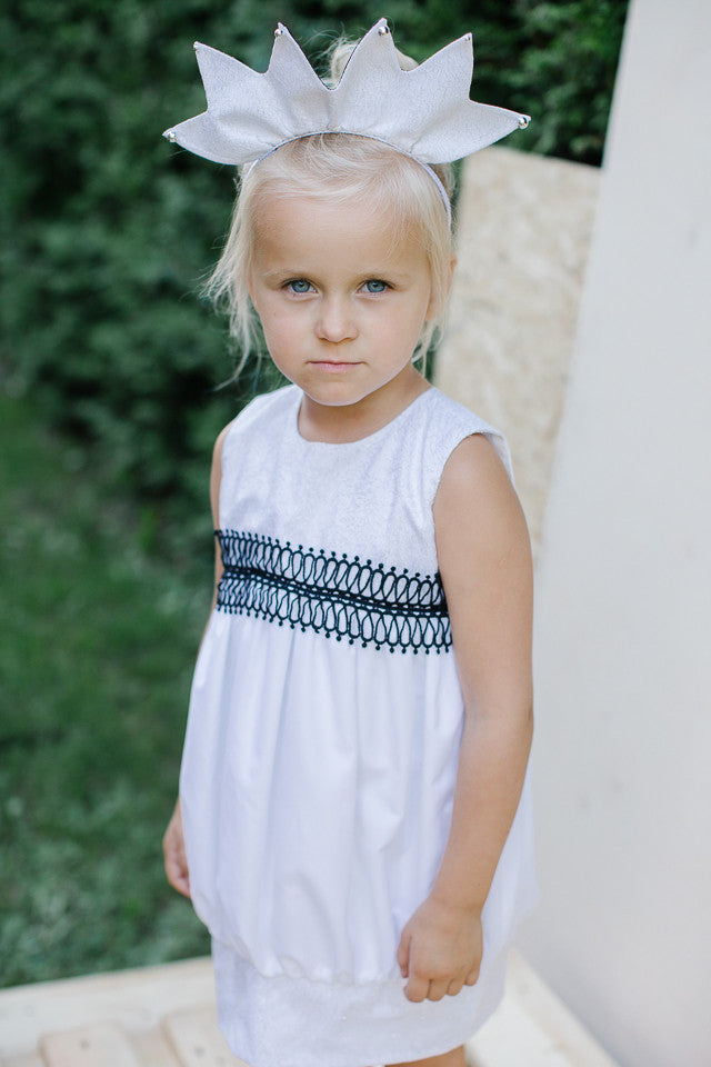 Exclusive Designer White Girls Baloon Dress with Black Lace Detail by Lazy Francis Front Flower Girl, Birthday, Special Occasion sale