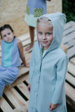 Exclusive Designer Girls Light Blue Eco Leather Coat by Lazy Francis Summer Party, Birthday Front Sale