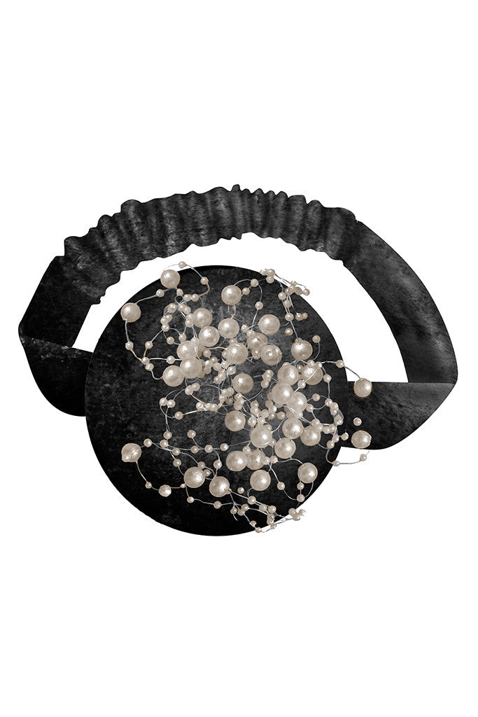 Black Velvet Pearly Headband - LAZY FRANCIS - Shop in store at 406 Kings Road, Chelsea, London or shop online at www.lazyfrancis.com