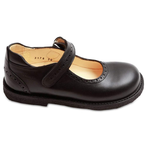 Navy Velcro Strap T-Bar Girls Leather Shoes - Angulus