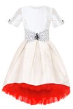 sale exclusive girls party dress, special occasion, eid White Raw Silk High-Low Dress with Bow and Red Tulle Underskirt
