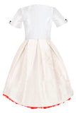 sale sale exclusive girls party dress, special occasion, eid White Raw Silk High-Low Dress with Bow and Red Tulle Underskirt