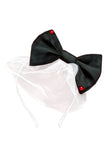 Lazy Francis Black Bow Headband with Tulle and Red Stones hand made accessory sale