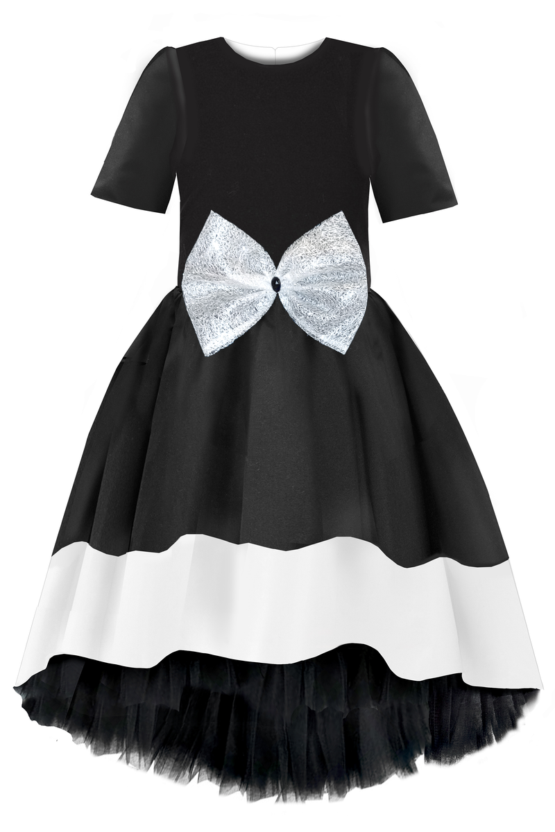 Black High Low Dress with white hem and lace bow