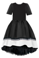 Black High-Low Taffeta Dress with White Hem and Lace Detail
