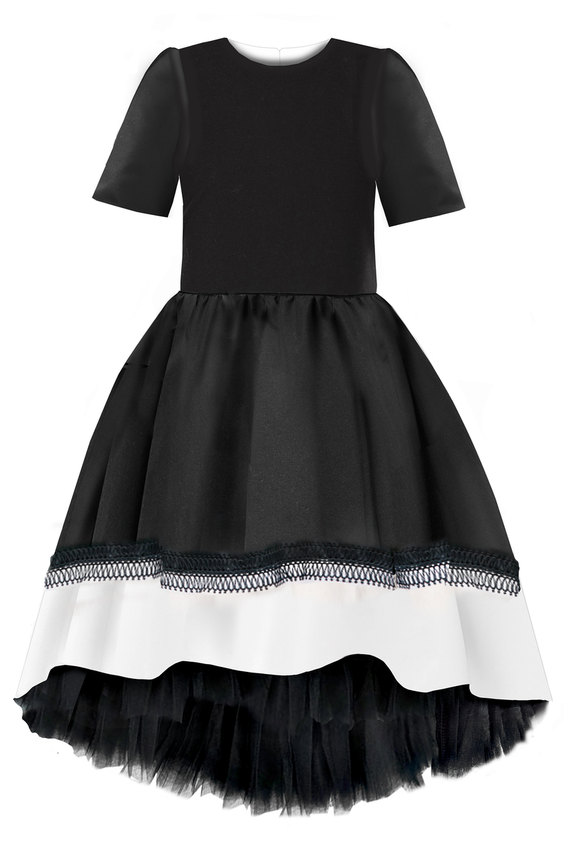 Black High-Low Taffeta Dress with White Hem and Lace Detail - LAZY FRANCIS - Shop in store at 406 Kings Road, Chelsea, London or shop online at www.lazyfrancis.com