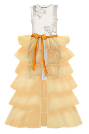 Gold Princess Butterfly Girls Maxi Tutu Skirt