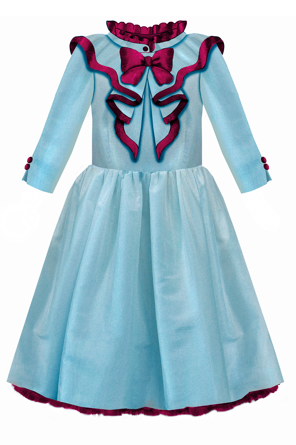 Elisabeth Flared Girls Dress in Sky Blue and Plum Taffeta