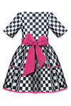 Checkered Full Girls Dress with Cat Appliqué and Pink Tulle Underskirt - LAZY FRANCIS - Shop in store at 406 Kings Road, Chelsea, London or shop online at www.lazyfrancis.com
