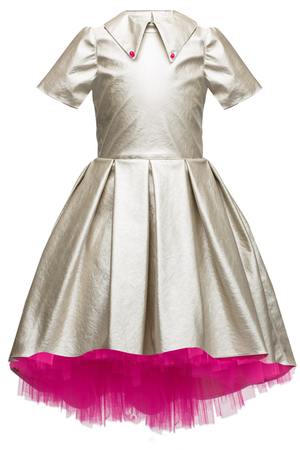 Silver Faux Leather High-Low Girls Dress with Hot Pink Tulle