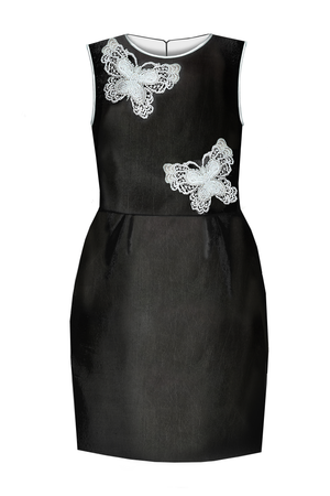 Crazy Butterfly Black Taffeta Stylish Girls Pencil Dress - LAZY FRANCIS - Shop in store at 406 Kings Road, Chelsea, London or shop online at www.lazyfrancis.com