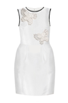 Crazy Butterfly White Taffeta Stylish Girls Pencil Dress - LAZY FRANCIS - Shop in store at 406 Kings Road, Chelsea, London or shop online at www.lazyfrancis.com
