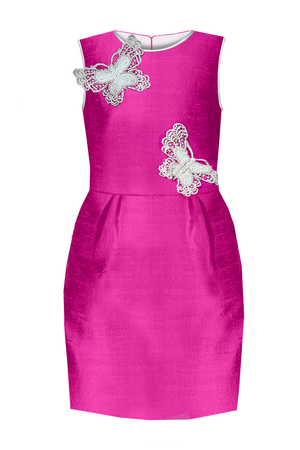Pearl Butterfly Fuchsia Raw Silk Girls Pencil Dress - LAZY FRANCIS - Shop in store at 406 Kings Road, Chelsea, London or shop online at www.lazyfrancis.com
