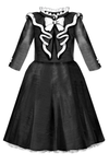 Elisabeth Flared Black and White Taffeta Dress with Ruffle and Bow - LAZY FRANCIS - Shop in store at 406 Kings Road, Chelsea, London or shop online at www.lazyfrancis.com