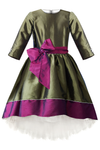 Olive Green & Plum Taffeta High-Low Girls Dress
