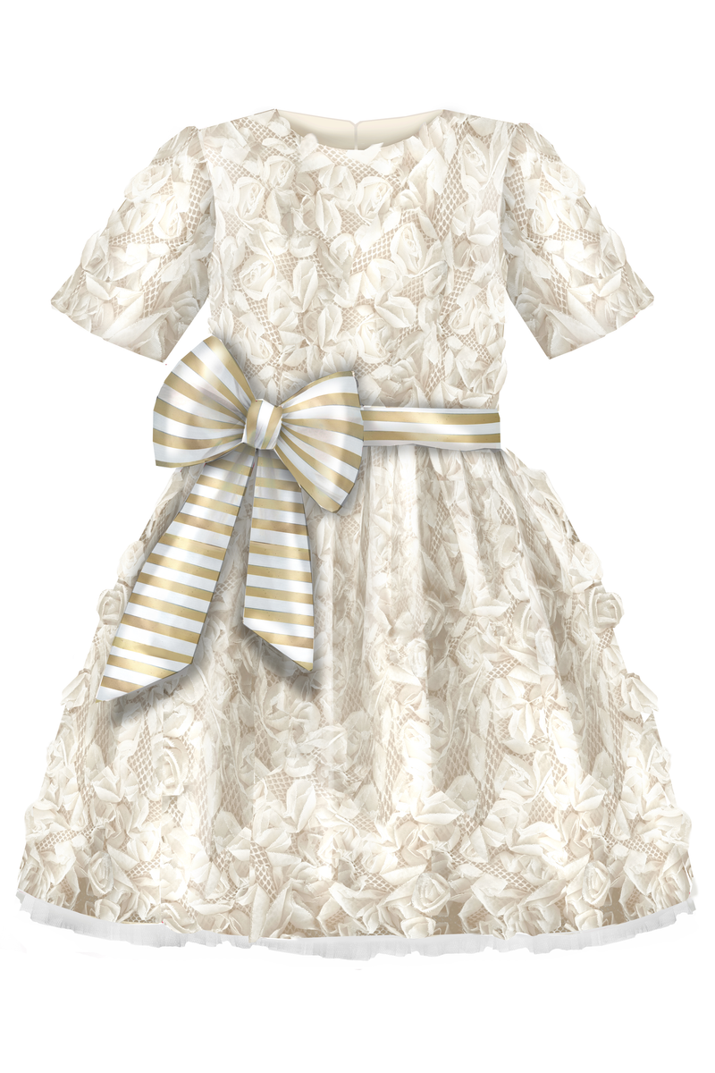 Limited Edition Santorini Flower Jacquard Girls Dress with Lush Bow