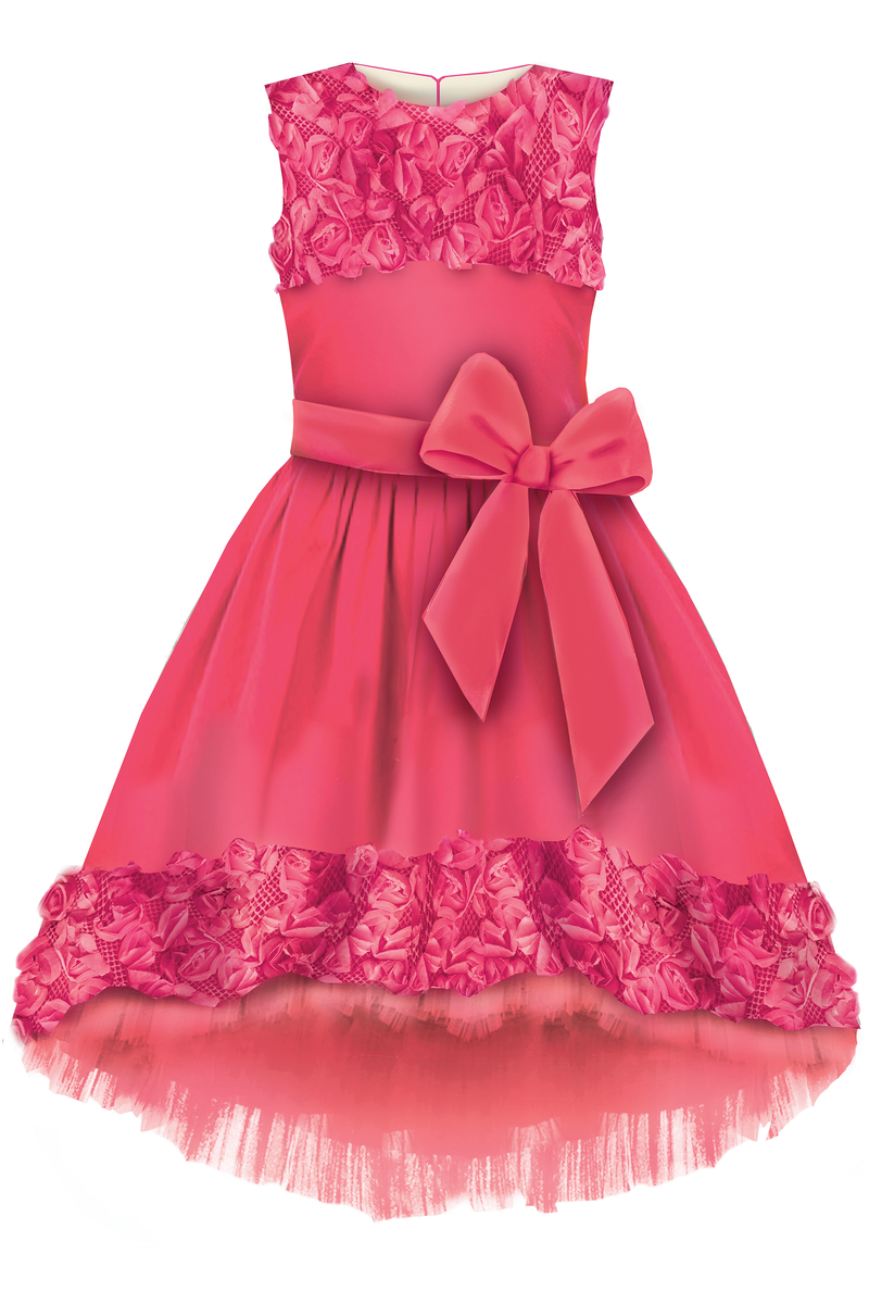 Limited Edition Marcelle Pink Flower Jacquard High-Low Girls Dress