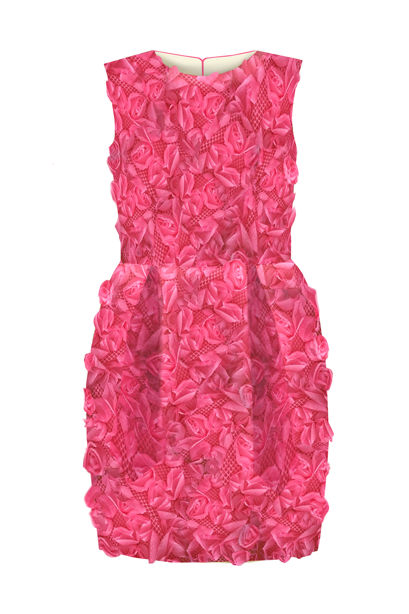 Limited Edition Flower Girl's Pink Jacquard & Denim Marcelle Pencil Dress