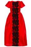 Lacey Maxi Girls Dress in Red Taffeta and Black Lace