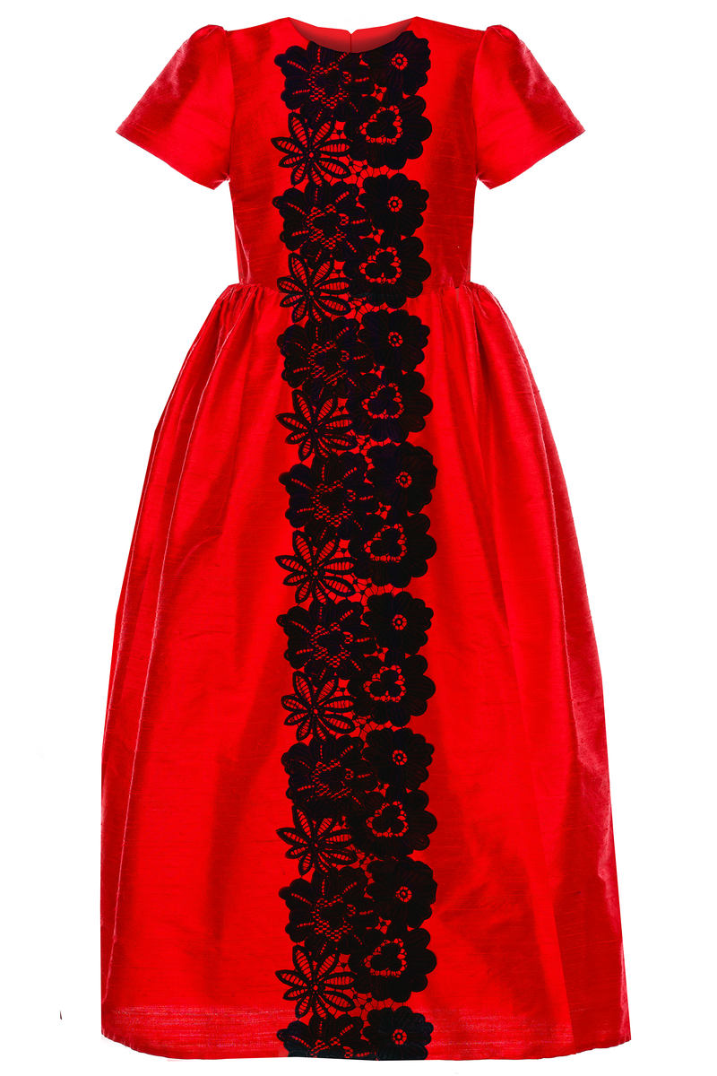 Lacey Maxi Girls Dress in Red Silk and Black Lace - LAZY FRANCIS - Shop in store at 406 Kings Road, Chelsea, London or shop online at www.lazyfrancis.com