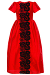 Red Raw Silk Maxi Girls Dress with Black Lace