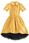 THIS IS A CELEBRITY DRESS! Golden Raw Silk High-Low Girls Dress - LAZY FRANCIS - Shop in store at 406 Kings Road, Chelsea, London or shop online at www.lazyfrancis.com