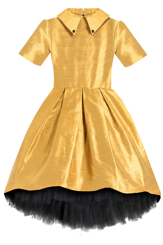 CELEBRITY DRESS! Ivy Raw Silk High-Low Girls Dress in Gold Silk - LAZY FRANCIS - Shop in store at 406 Kings Road, Chelsea, London or shop online at www.lazyfrancis.com