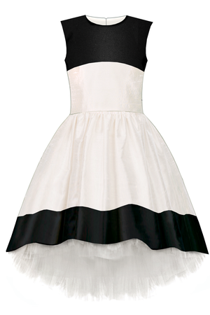 White Taffeta High-Low Dress with Black Hem - LAZY FRANCIS - Shop in store at 406 Kings Road, Chelsea, London or shop online at www.lazyfrancis.com