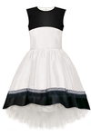 White Sleeveless Taffeta High-Low Dress with Tulle - LAZY FRANCIS - Shop in store at 406 Kings Road, Chelsea, London or shop online at www.lazyfrancis.com