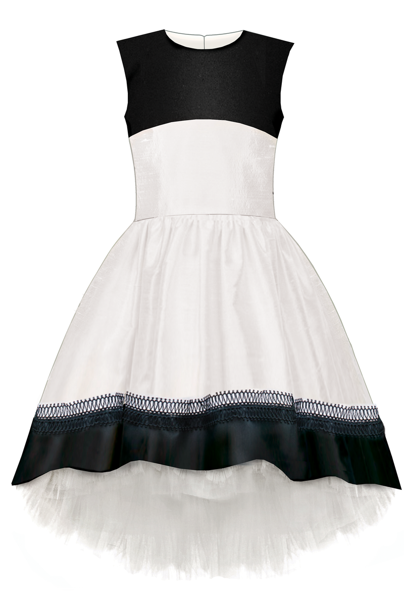 White Sleeveless Taffeta High-Low Dress with Tulle